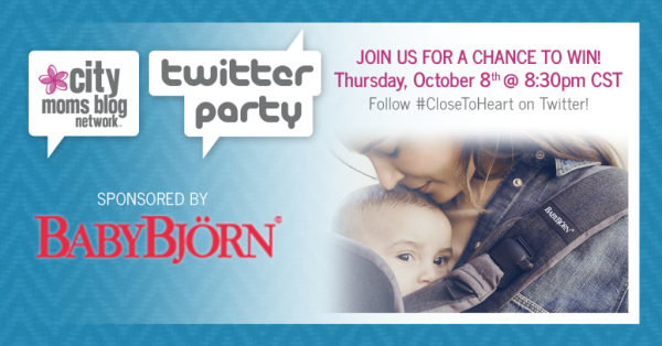 BabyBjorn #CloseToHeart Twitter Party - City Moms Blog Network - Babywearing